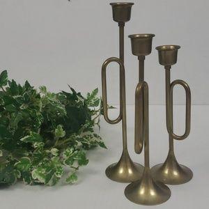 Vintage brass horn trumpet candle holders